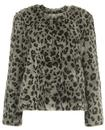 Traffic People Retro 60s Leopard Faux Fur Coat