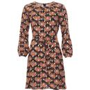 Traffic People Cusp Retro 60s Floral Leaf Dress in Black