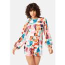 Bambi TRAFFIC PEOPLE Abstract Print Retro Playsuit