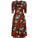 traffic people womens fever v neck floral print flared midi dress black