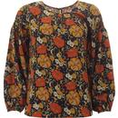 traffic people womens seasons oversized retro floral print top navy
