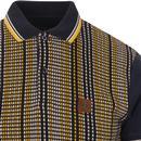 TROJAN RECORDS Textured Jacquard Stripe Polo NAVY