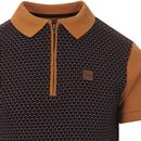 TROJAN RECORDS Mod Jacquard Dot Zip Neck Polo T
