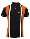 TROJAN RECORDS Ska Mod Stripe Panel Polo Shirt B/O