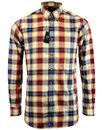 VIYELLA 60s Mod Button Down Gold Plaid Check Shirt