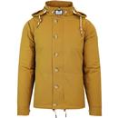 weekend offender brook quilted hooded jacket mustard