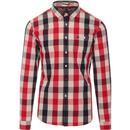 weekend offender mens geveria retro mod check long sleeve shirt red