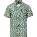 weekend offender mens palm leaf print cuban collar short sleeve shirt pale blue