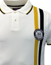 WIGAN CASINO Northern Soul Racing Stripe Polo Ecru