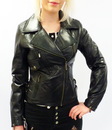 WOMENS RETRO MOD RACER JACKET LEATHER 70s BIKER