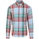 wrangler mens check chest pocket long sleeve shirt red green blue
