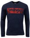 WRANGLER Retro 1970s Vintage Logo Sweatshirt NAVY