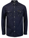 wrangler mens retro 70s western denim shirt indigo