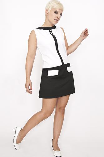 Mademoiselle Y 233 Y 233 The Y 233 Y 233 Retro Mod 60s Dress In Black White