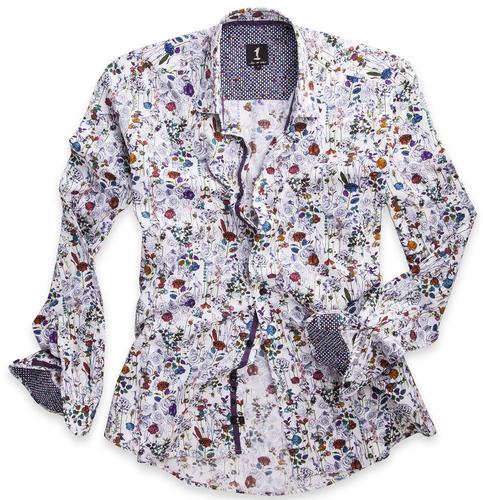 1 LIKE NO OTHER RETRO MOD FLORAL SHIRT