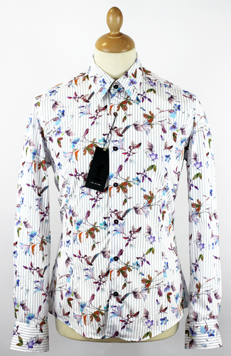 Pinnate 1 LIKE NO OTHER Photo Floral Stripe Shirt