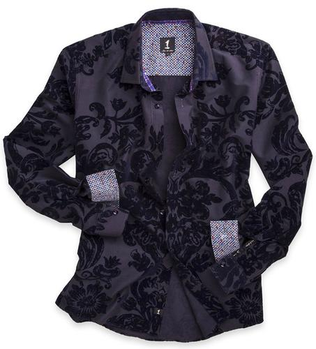 1 LIKE NO OTHER RETRO MOD FLORAL VELVET SHIRT