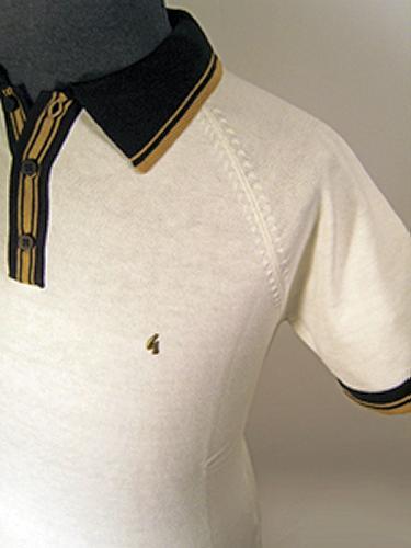 'Gabicci Vintage Knitted Mens Polo' (White/Black)