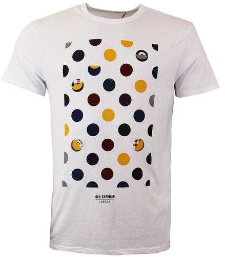 BEN SHERMAN POLKA DOT RETRO MENS T-SHIRT