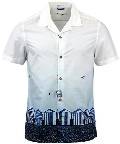 Ben sherman retro mod brighton beach huts shirt in blue for Brighton t shirt printing