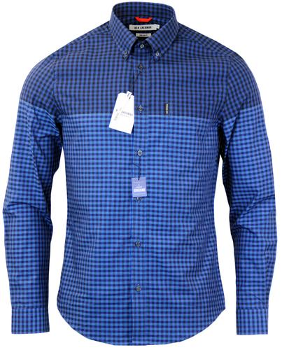 BEN SHERMAN Retro Mod 60s Graduating Gingham Shirt