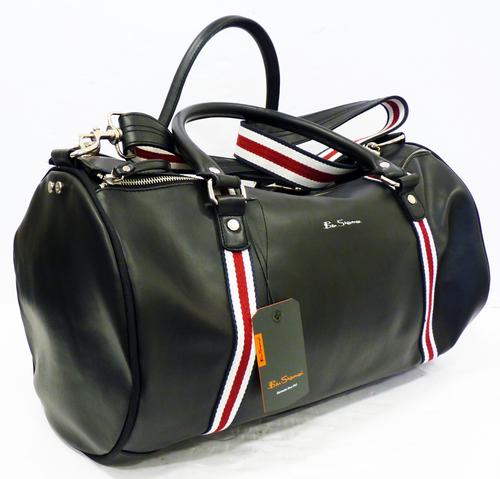 Ben Sherman Iconic Barrel Bag In Black Retro Mod Sixties