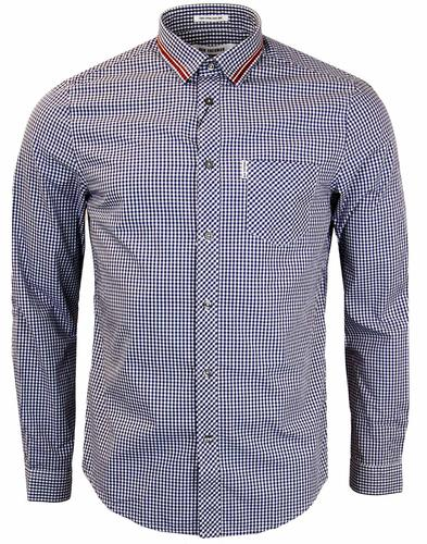 BEN SHERMAN Gingham Tipped Collar Retro Shirt
