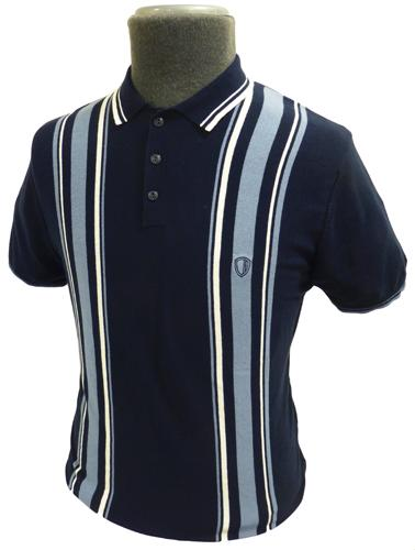 Ben sherman retro sixties mens mod racing stripe knitted for Knitted polo shirt mens