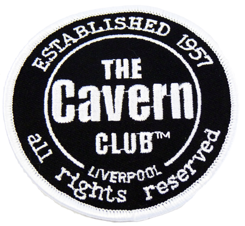 CAVERN CLUB SEW ON PATCH IN BLACK RETRO MOD 60s