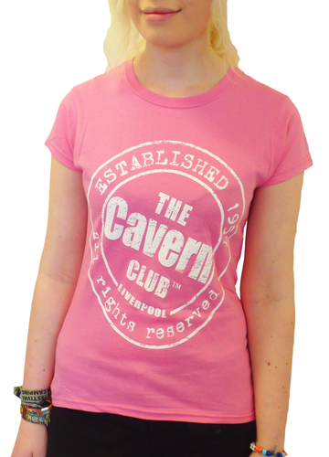 CAVERN CLUB T-SHIRT WOMENS ESTABLISHED 1957 PINK
