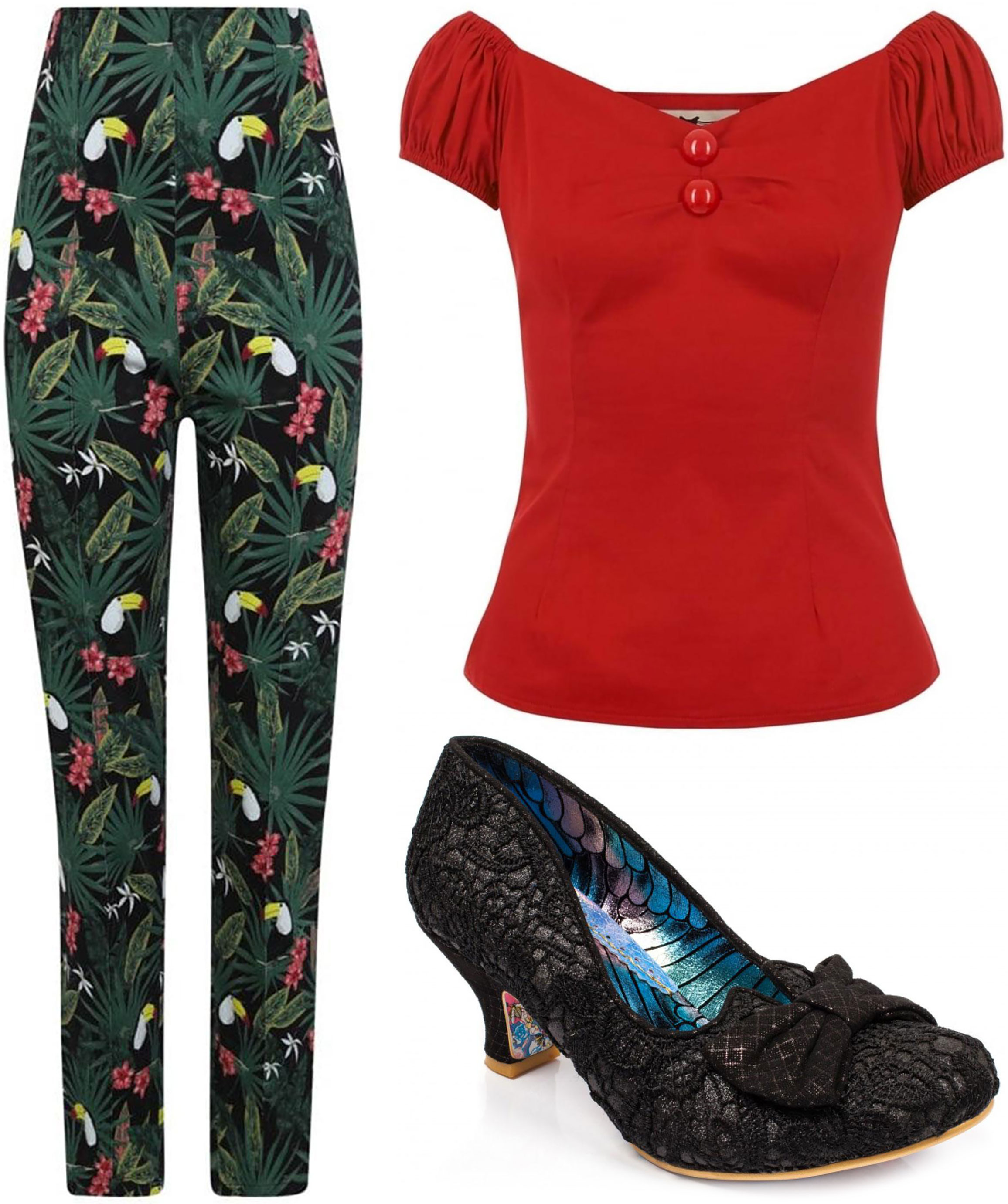 Collectif 'Bonnie' trousers with 'Dolores' top and Irregular Choice 'Razzle Dazzle' heels