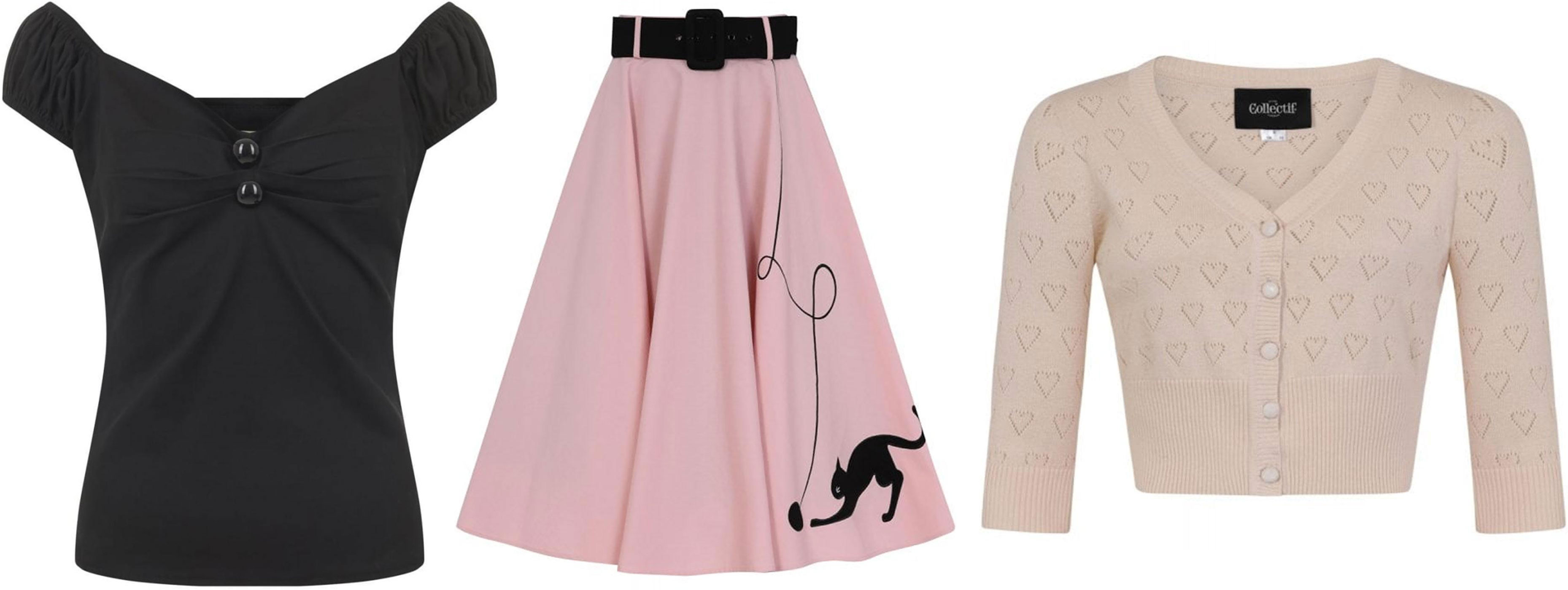 The Collectif Kitty Cat swing skirt with Evie cardigan and Dolores top