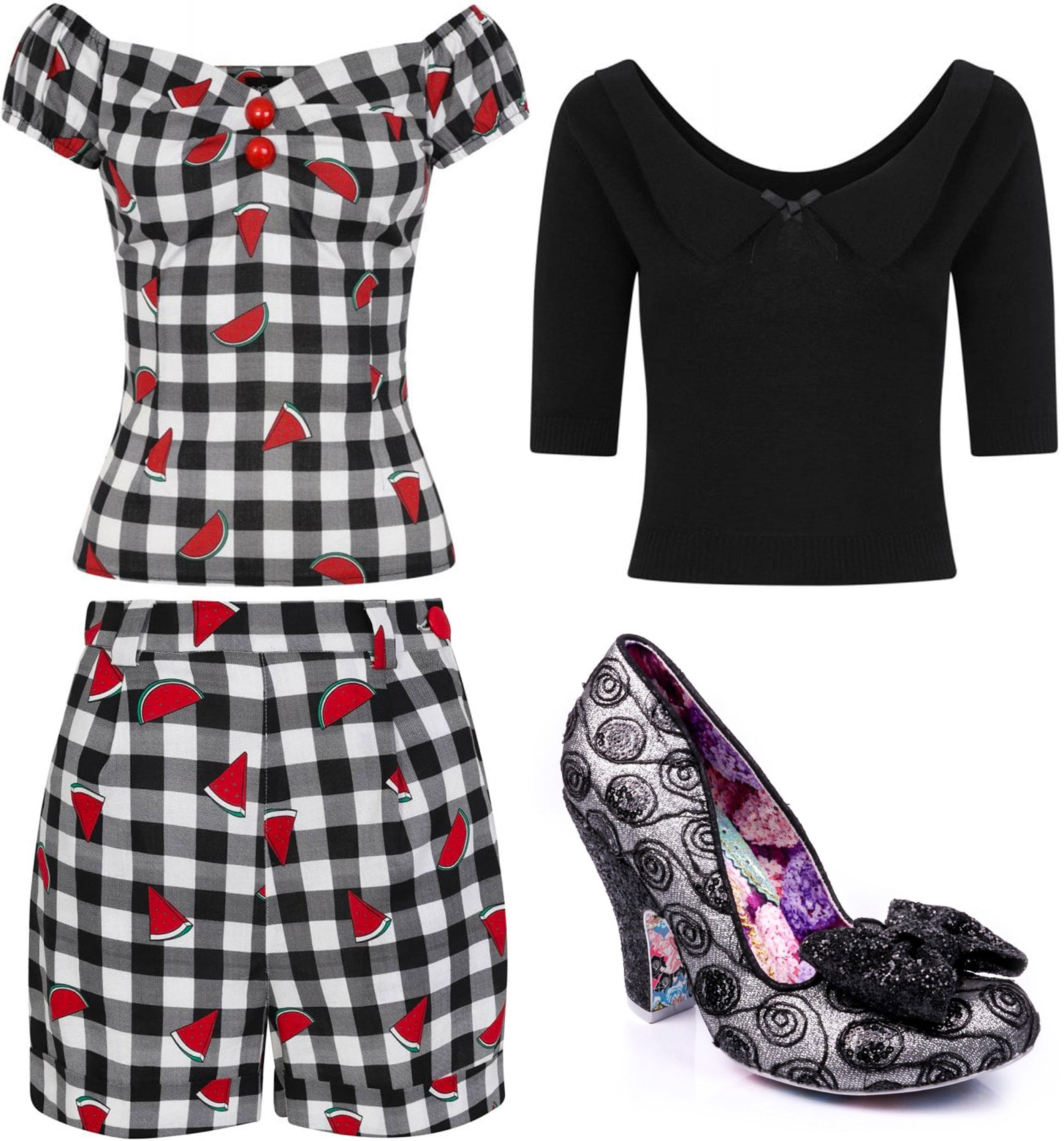 Collectif gingham top and shorts with Babette jumper and Nick of Time heels