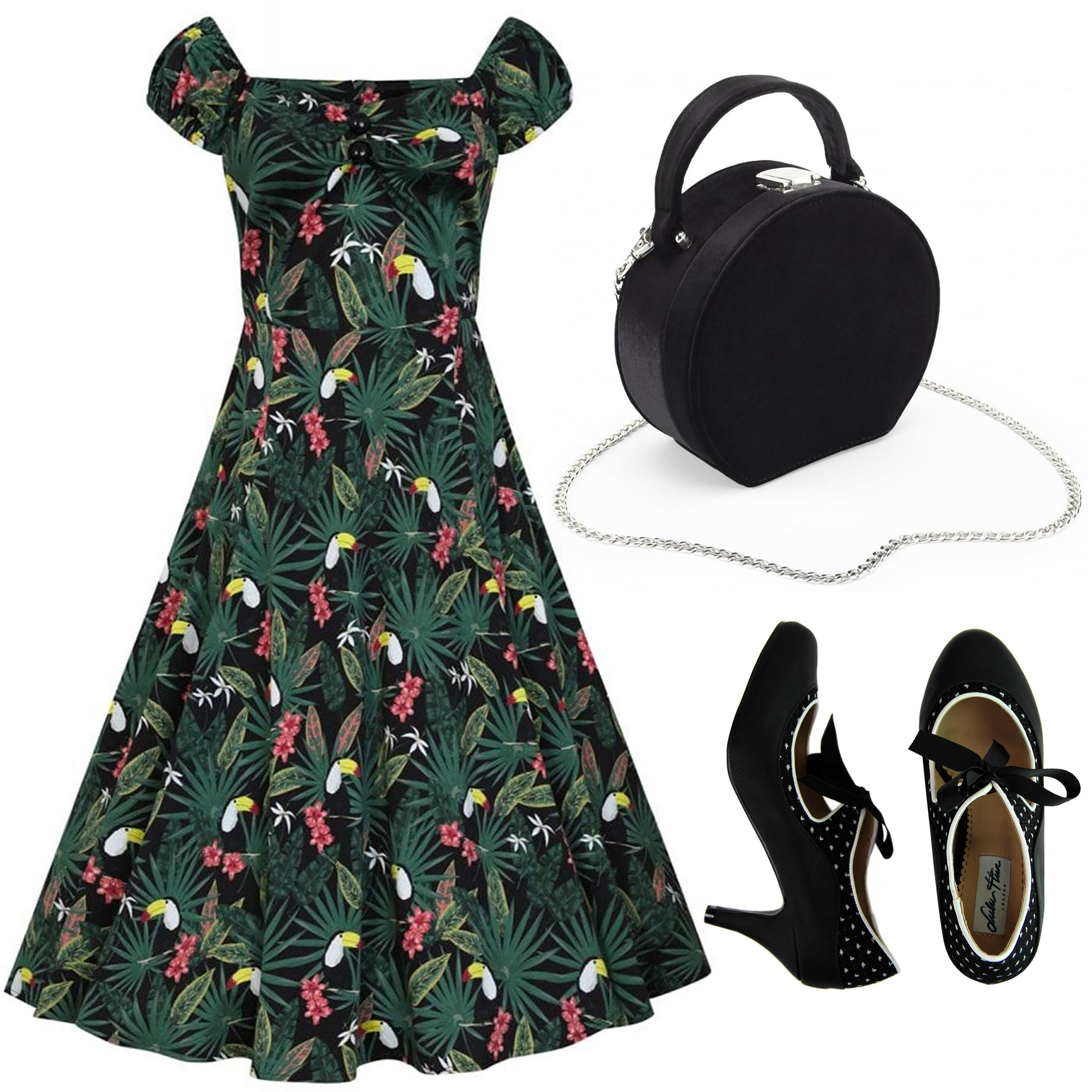 Collectif Dolores swing dress with Joe Browns Oracle bag and Jeanie Lulu Hun heels