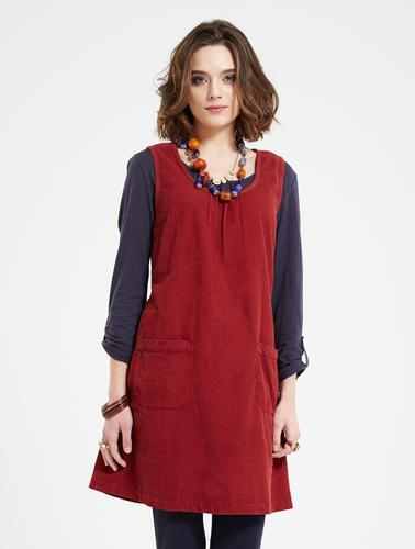 NOMADS RETRO 60S CORD PINAFORE DRESS RUST