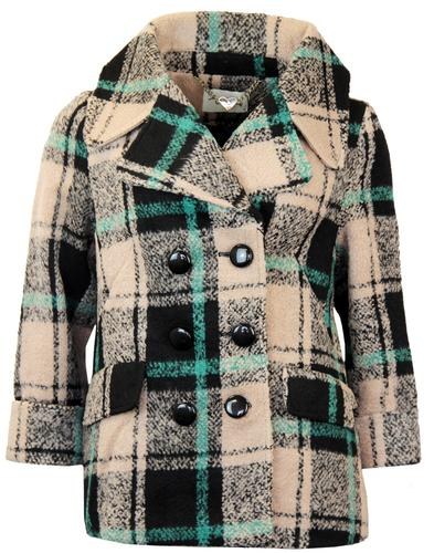 DARLING HARRIET DOUBLE BREASTED RETRO CHECK COAT