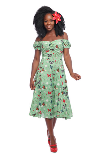 Dolores Doll Dress Retro Butterfly Print