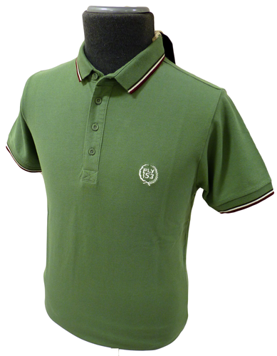 Dirt Road FLY53 Mens Mod Tipped Retro Polo Shirt G