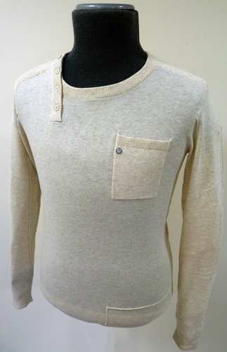 FLY53 'VOODOO' RETRO MOD MENS SIDE BUTTON CREW NECK ASYMETRIC PLACKET