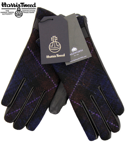 FAILSWORTH Harris Tweed & Leather Womens Gloves