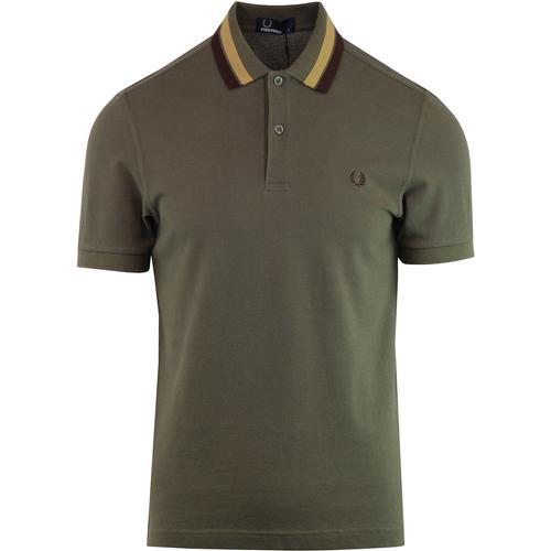 FRED PERRY Men's Mod Bold Tipped Pique Polo - Leaf