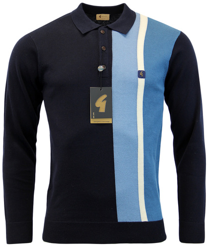 GABICCI VINTAGE Sixties Racing Stripe Knitted Polo