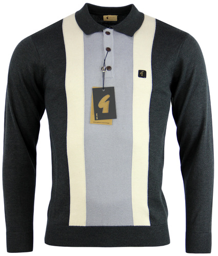 GABICCI VINTAGE Sixties Stripe Panel Knitted Polo