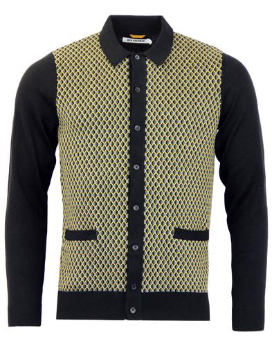 BEN SHERMAN Retro Mod Geo Pattern Polo Cardigan JB