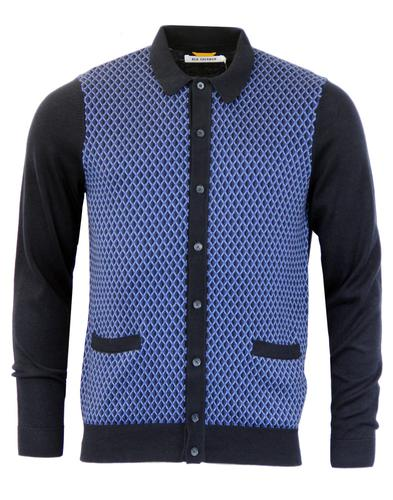 BEN SHERMAN Retro Mod Geo Pattern Polo Cardigan NB