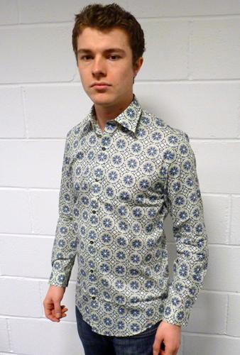 'Tony' GIBSON LONDON LIBERTY PRINT Mens Mod Shirt