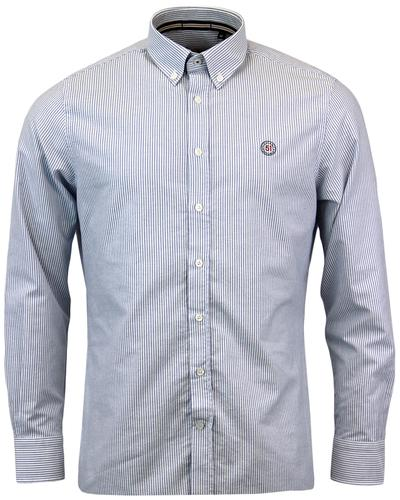 GLOVERALL Retro Sixties Mod Stripe Oxford Shirt