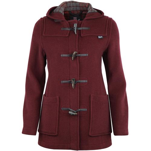 Gloverall Womens Slim Fit Duffle Coat in Burgundy