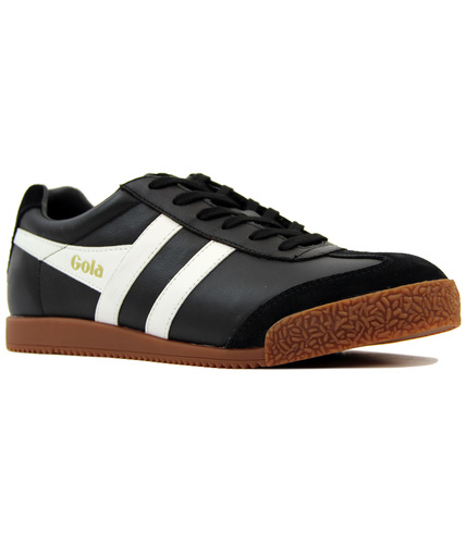 GOLA Harrier Retro Indie Leather Trainers BLACK