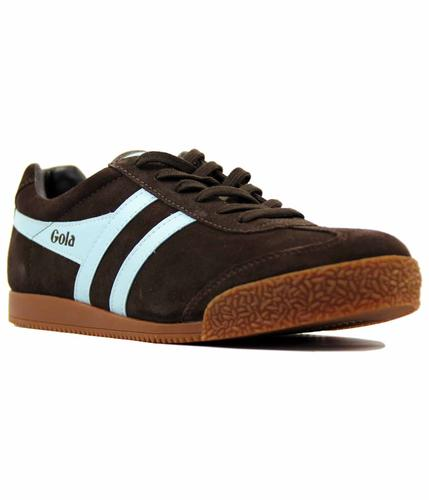 GOLA HARRIER SUEDE DARK BROWN PALE BLUE TRAINERS